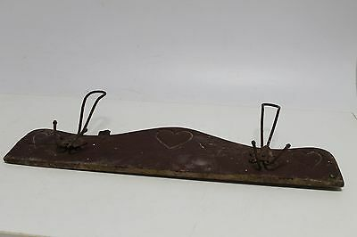 Antique Primitive Old Wooden Wood And Metal Wall Hanger