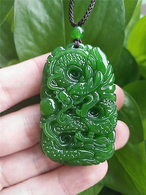 Fashion Natural Green Jade Dragon Pendant Chinese Hand-Carved Lucky Amulet Hot