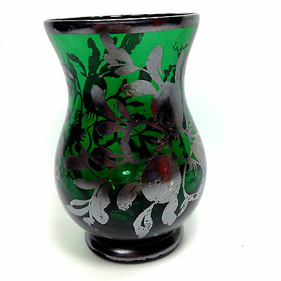 Antique Green Glass & Solid Silver Inlay Victorian Small Vase