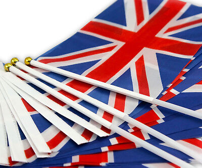 100pcs Union Jack Hand Waving Flag Royal Jubilee UK GB Mini Great Britain Flags