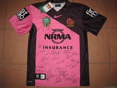 Brisbane Broncos Women In League Pink Hand Signed Jersey