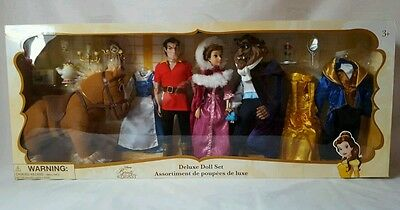 New Disney Princess Beauty And The Beast Deluxe Doll Set Belle Beast Gaston