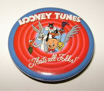 Warner Bros. Looney Tunes 'That's All Folks!' badge (1986). Rare & mint!
