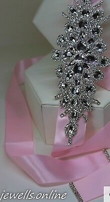 Pale Pink Crystal Diamanté Bridesmaid Belt Sash Wedding Dress Accessories