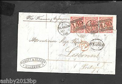 SCOTLAND DESTINATION MAIL 1866 ENTIRE TO LISBON FRANKED 4d RED PLATE 4 HAIRLINES