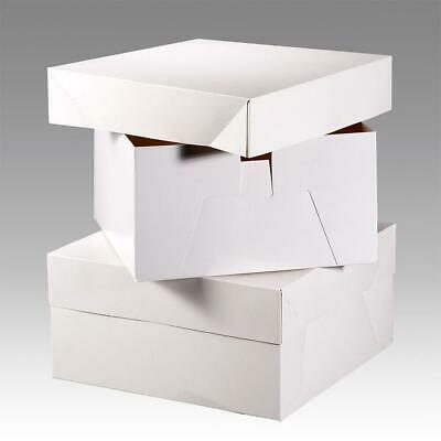 """White Birthday Cake Box base & removable lid 6"""" High - 8"""" - 18"""" as low as 47p"""