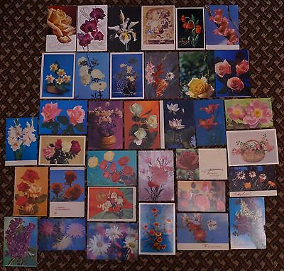 Post cards USSR - flowers, 35 pieces