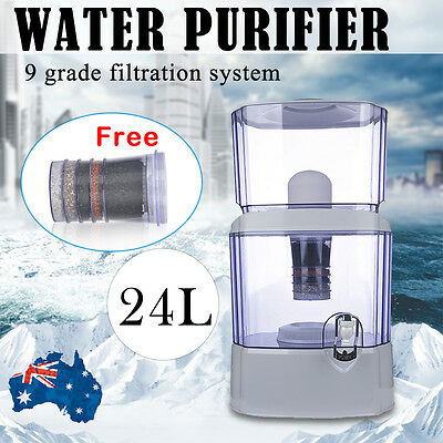 9 Stage 24L Water Filter Purifier Bottle Dispenser Bench Top Ceramic Mineral