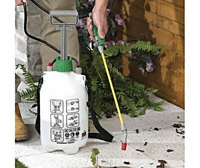 5 Litre Manual Pressure Sprayer Car Wheels Garden Patio Weeds Insects Pest BNIB