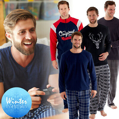 Mens Fleece Pyjamas Father Son Matching Pyjama Lounge Pants Bottoms Loungewear