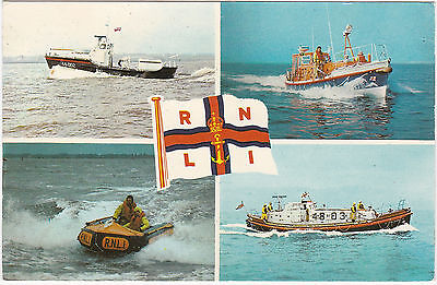 Postcard Rnli Lifeboats Multiview Waveney Inshore Rother Solent 1978