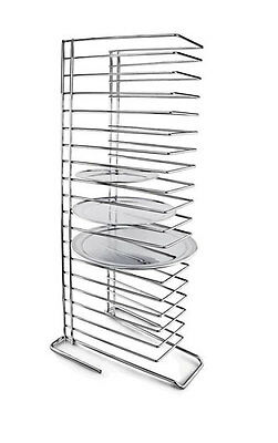 Pizza Pan Tray Rack 18-Slot Shelf Stand Stacking Thin Pans Trays Steel