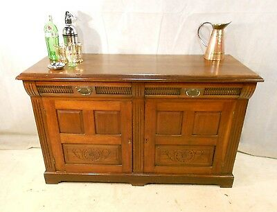 ANTIQUE ARTS & CRAFTS SOLID WALNUT SIDEBOARD c1880-1900 DRINKS BAR CHIFFONIER
