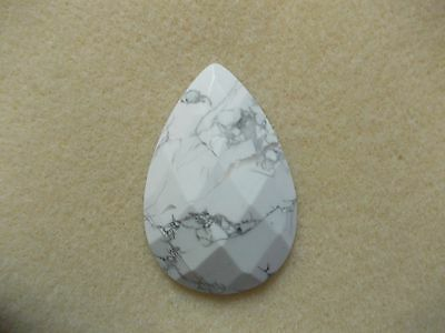 Large White Howlite Faceted Pear Cabochon (40mm x 60mm)