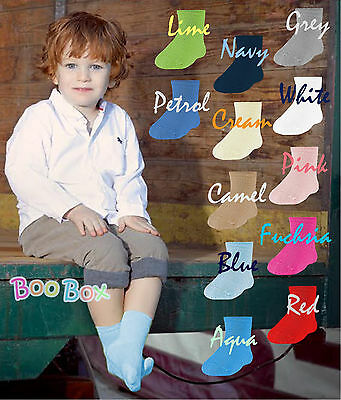 Baby Girls & Baby Boys Spanish Mid Calf Length High Ankle Plain Socks NB-2 Years