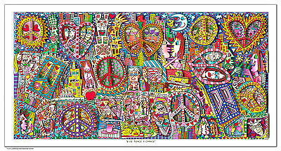 "XL Original James Rizzi 3D Bild "" Give peace a chance ""  NEU ZERTIFIKAT"