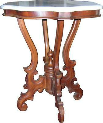 Solid Mahogany Victorian Marble Topped Side Table Antique Reproduction NEW T018