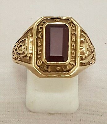 (1)  9Ct Solid Gold Red Gemstone College Ring