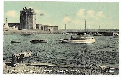 BROUGHTY FERRY The Castle and Harbour, Postcard by Valentine, Postally Used 1958