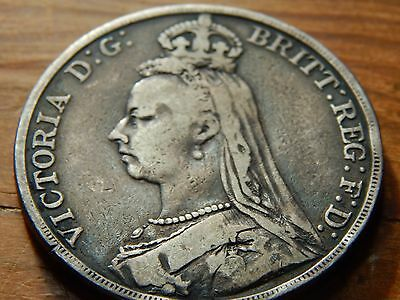 Queen Victoria 1890 Sterling .925 Silver Crown Coin