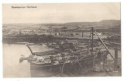 DUMBARTON Harbour and Shipyards, Old Postcard, Unused