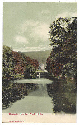STOBO Dawyck from the Pond, Old Postcard Unused, Brown's Series #21