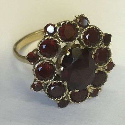 Large Vintage Solid 9ct Yellow Gold Garnet Cluster Ring Size N1/2 1964