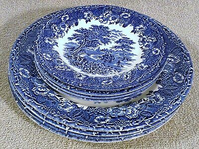 """Set Of 4 Blue English Ironstone 10"""" Dinner Plates And 7"""" Bread Plates Very Nice"""
