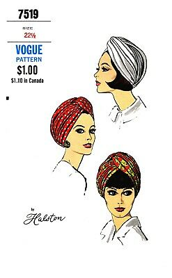 Vintage Vogue Designer Halston Millinery Hat Turban Fabric sewing pattern # 7519