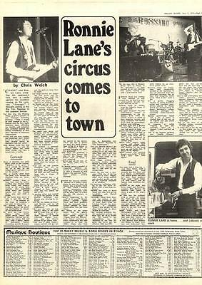 Ronnie Lane Circus Comes To Town MM4 Interview 1974