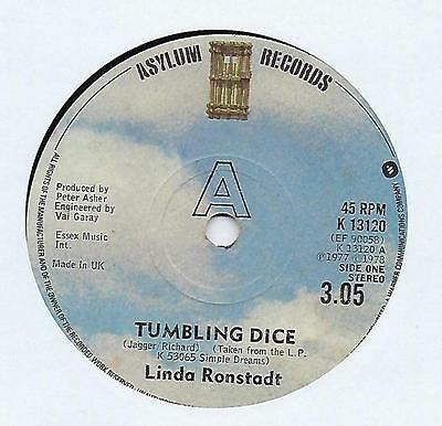 "Linda Ronstadt - Tumbling Dice - 7"" Vinyl Record Single"
