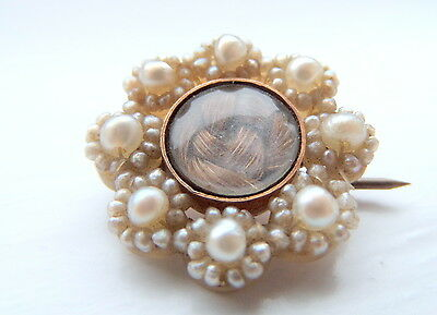 Georgian Seed Pearl and Gold Mourning Brooch- dated 1804  Martha Royston
