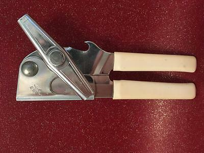 Vintage 1950s 1960s Retro Swing-a-way Can Opener White Handles USA