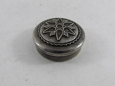 Solid Sterling Silver Pill Snuff Trinket Box Round Shape Engraved