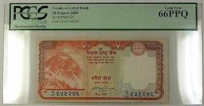 2008 Nepal Central Bank 20 Rupees Note SCWPM# 62 PCGS GEM New 66 PPQ