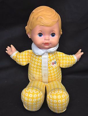 """Fisher Price Honey Lapsitter 12"""" Baby Doll Yellow Floral Vintage 1975 #208 210"""