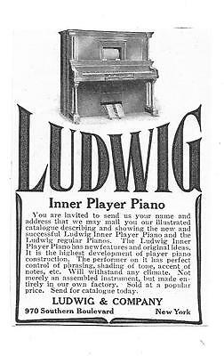Vintage Magazine Ad from Ladies Home Journal of 1907, LUDWIG Inner Player Piano