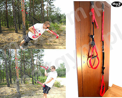 Max Gym ® training Duo Body Trainer. Suspension Band Straps. crossfit red