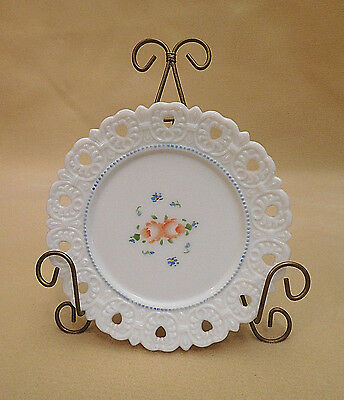Collector Plate: Old Vintage Lornita Hand Painted Milk Glass Plate, Lace Edge