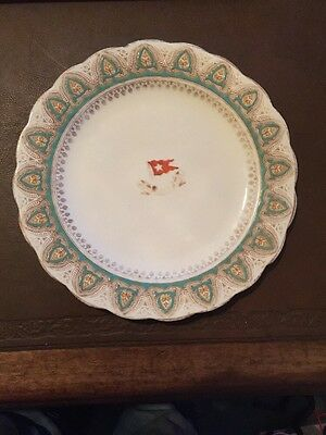 White Star Line, First Class turquoise Crown pattern luncheon plate. Stonier & C