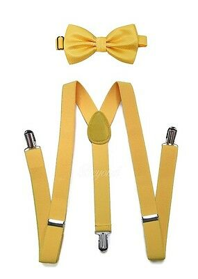 Yellow Suspender and Bow Tie Set for Teenagers Adults Men Women (USA Seller)