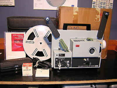 Elmo ST-1200 M Super 8mm Sound Movie Projector w Take up reel & New Belts In Box