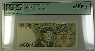 1.12.1988 Poland National Bank 50 Zlotych Note SCWPM# 142c PCGS GEM New 66 PPQ