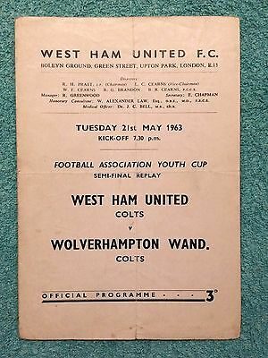 1963 - FA YOUTH CUP SEMI FINAL REPLAY PROGRAMME - WEST HAM v WOLVES