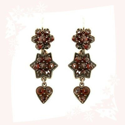 Vintage garnet stars&hearts earrings w/14ct gold wires Victorian style || E#PK