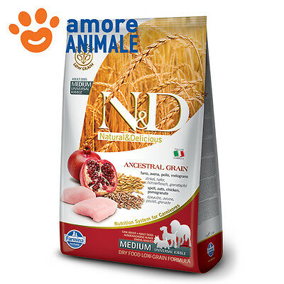 Farmina n&d low grain adult medium pollo e melograno 12 kg - Crocchette cane