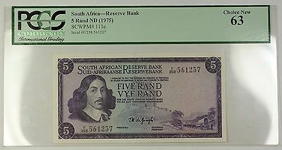 (1975) No Date South Africa Reserve Bank 5 Rand Note SCWPM# 111c PCGS Choice 63
