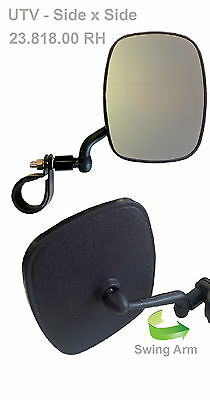 "UTV Mirrors, Universal Roll Bar Mirror, 3/4"" (Steel Strap) clamp, RH"