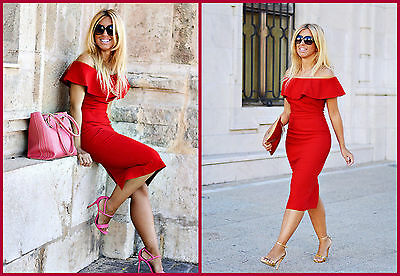 ZARA AW16 RED OFF THE SHOULDER DRESS size: LARGE Ref. 7972/155