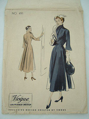 Vintage Vogue 'couturier design' 40s dress/coat pattern No.491 size bust 34""